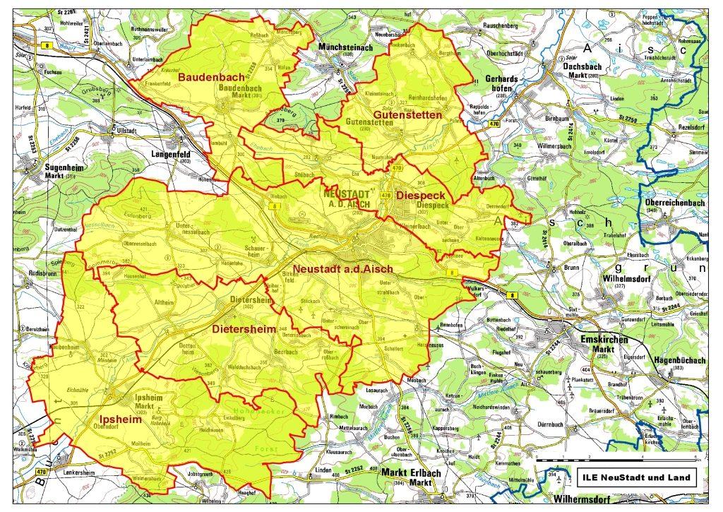 Karte der Kommunalen Allianz NeuStadt und Land